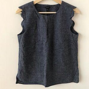 Ann Taylor scalloped edge sleeveless top